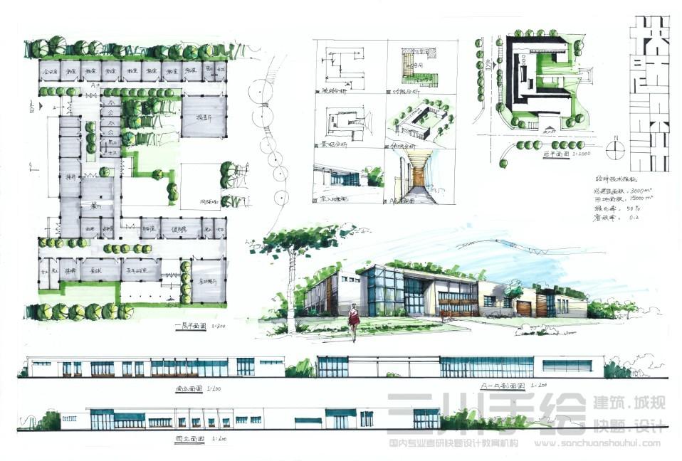 建筑快题设计作品- 建筑作品-三川手绘